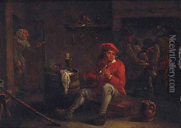 A man smoking a pipe in an inn with card players beyond Oil Painting - David The Younger Teniers