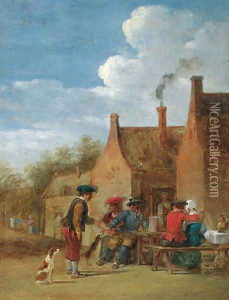 A peasant couple and travellers at table outside an inn Oil Painting - David The Younger Teniers