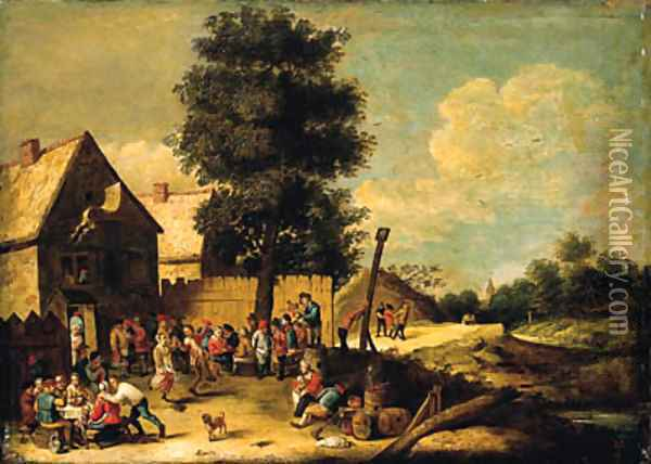A peasant couple dancing to the music of a bagpiper, standing on a barrel, with other peasants merrymaking, ouside an inn Oil Painting - David The Younger Teniers