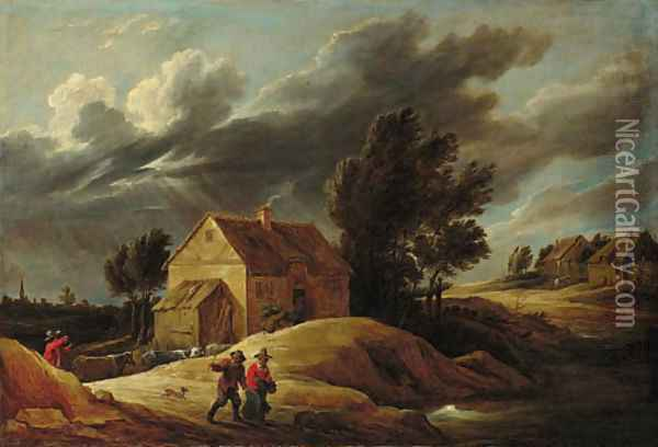 A Peasant couple on a path and a herdsman driving his cattle in a dune landscape, a town beyond Oil Painting - David The Younger Teniers
