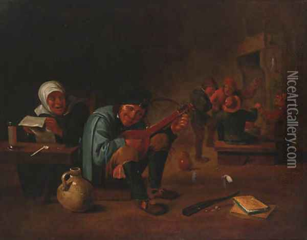 A peasant playing a lute in a tavern interior Oil Painting - David The Younger Teniers