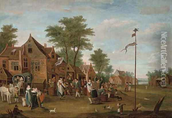 A river landscape with peasants merry-making outside an inn Oil Painting - David The Younger Teniers