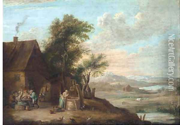 A river landscape with peasants smoking and drinking outside an inn, with a women getting water from a well Oil Painting - David The Younger Teniers