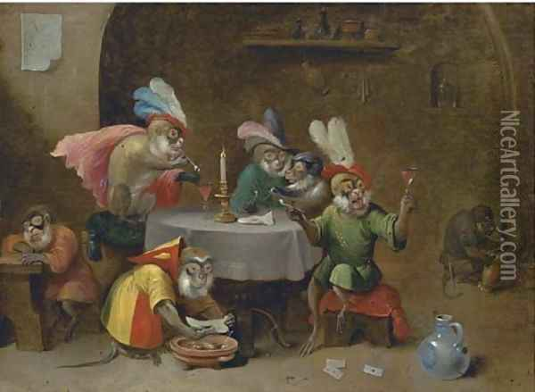 A tavern interior with monkeys drinking and smoking Oil Painting - David The Younger Teniers