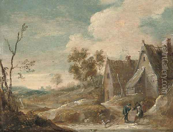 A village landscape with peasants conversing Oil Painting - David The Younger Teniers