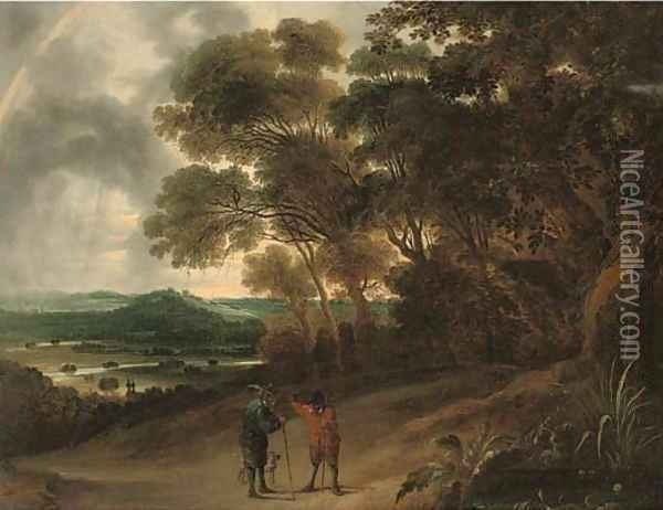 A wooded river landscape with figures conversing on a track Oil Painting - David The Younger Teniers