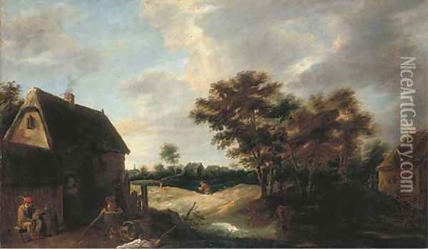 A wooded village landscape with a peasant resting outside a farmhouse Oil Painting - David The Younger Teniers
