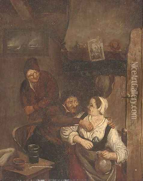 Amorous peasants in an interior Oil Painting - David The Younger Teniers