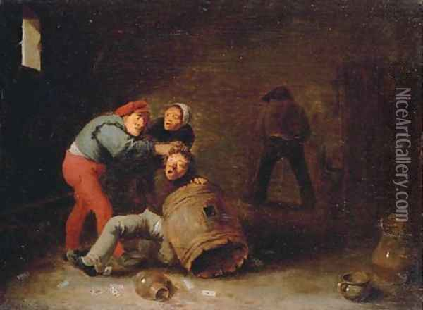 Boors brawling in a tavern Oil Painting - David The Younger Teniers