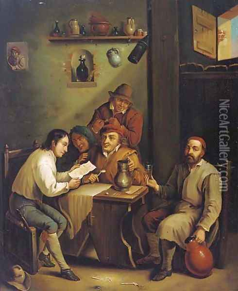 Boors drinking and smoking in an interior Oil Painting - David The Younger Teniers