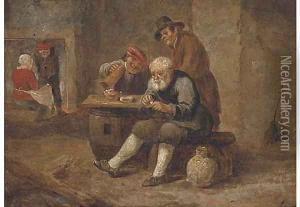 Boors smoking and drinking in an inn Oil Painting - David The Younger Teniers