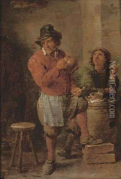 Boors smoking in a tavern Oil Painting - David The Younger Teniers
