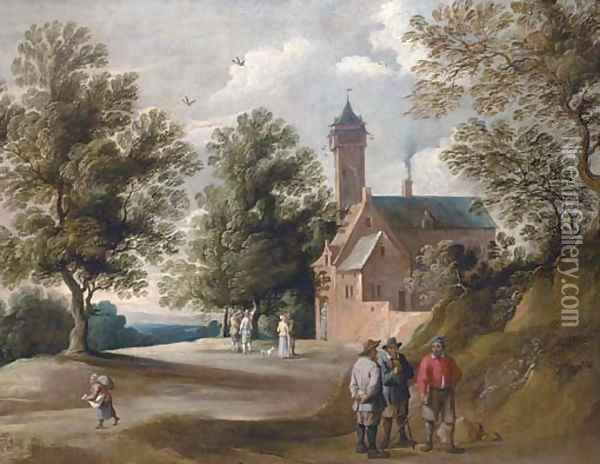 Figures conversing outside a country house Oil Painting - David The Younger Teniers