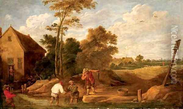 Figures fishing in a stream by a cottage Oil Painting - David The Younger Teniers