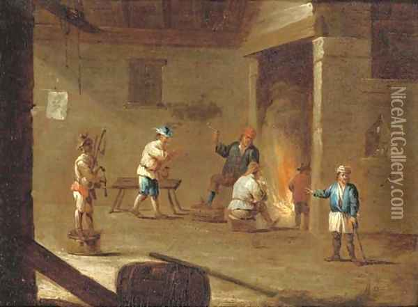 Figures in an interior smoking and drinking by a fire, with another figure playing the doodle-sack Oil Painting - David The Younger Teniers