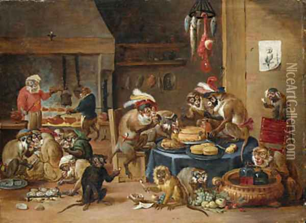 Monkeys preparing food in a kitchen Oil Painting - David The Younger Teniers