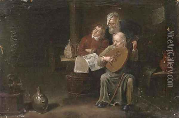 Musicians in an interior Oil Painting - David The Younger Teniers