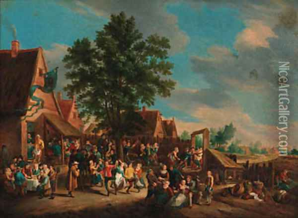 Peasants dancing and merrymaking before an inn Oil Painting - David The Younger Teniers