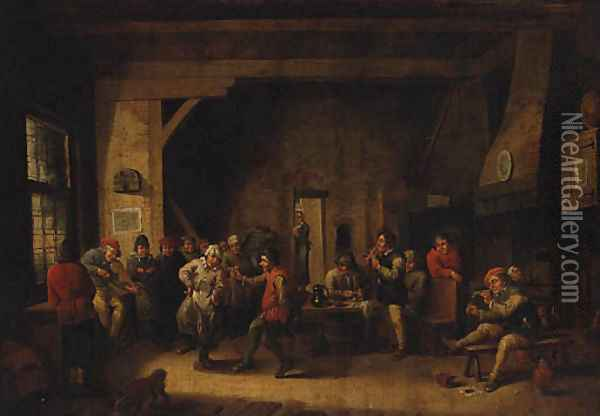 Peasants dancing in a Tavern Interior Oil Painting - David The Younger Teniers