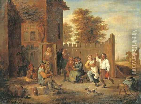 Peasants merrymaking outside an inn Oil Painting - David The Younger Teniers
