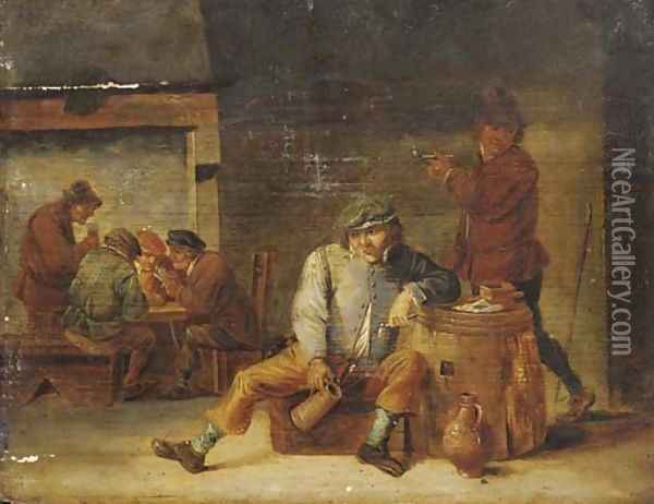 Pesants drinking and smoking in a tavern Oil Painting - David The Younger Teniers
