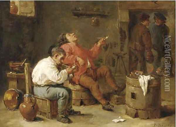 Smokers in an inn Oil Painting - David The Younger Teniers
