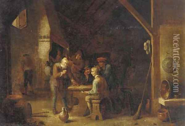 The interior of an inn with peasants smoking and conversing by a table Oil Painting - David The Younger Teniers