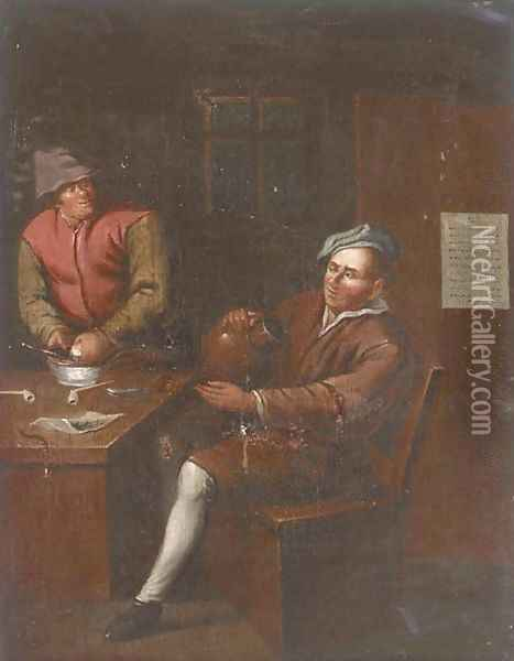 Two men smoking and drinking in an interior Oil Painting - David The Younger Teniers