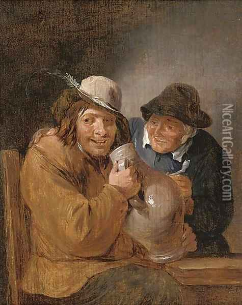 Two peasants smoking and drinking in an interior Oil Painting - David The Younger Teniers