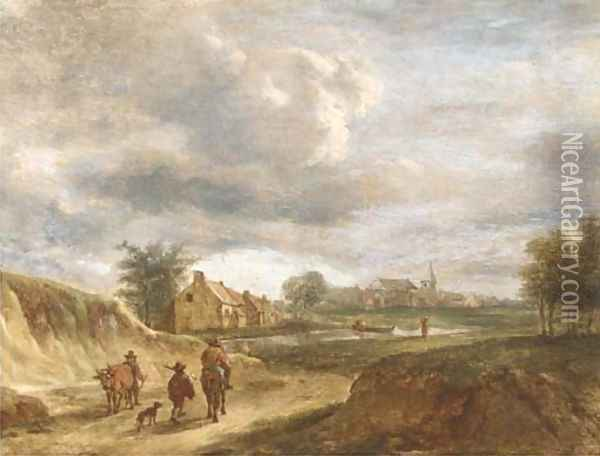 A river landscape with travellers on a track, a town beyond Oil Painting - David The Younger Teniers