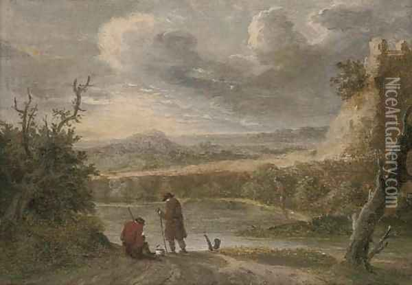 A river landscape with travellers resting on a trac Oil Painting - David The Younger Teniers