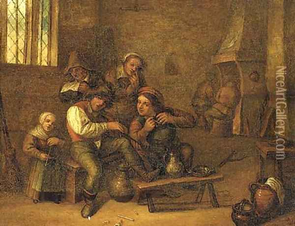 Peasants drinking and smoking in an interior Oil Painting - David The Younger Teniers