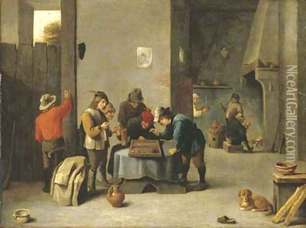 Peasants playing backgammon in an interior Oil Painting - David The Younger Teniers