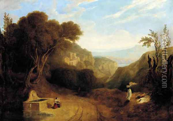 An italianate landscape with figures on a path Oil Painting - Joseph Mallord William Turner