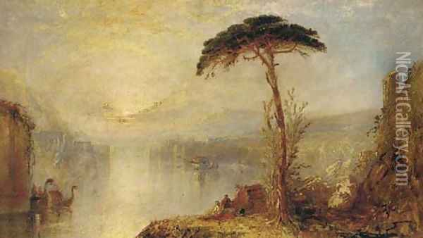 Figures by the water at dusk, a Venetian capriccio Oil Painting - Joseph Mallord William Turner