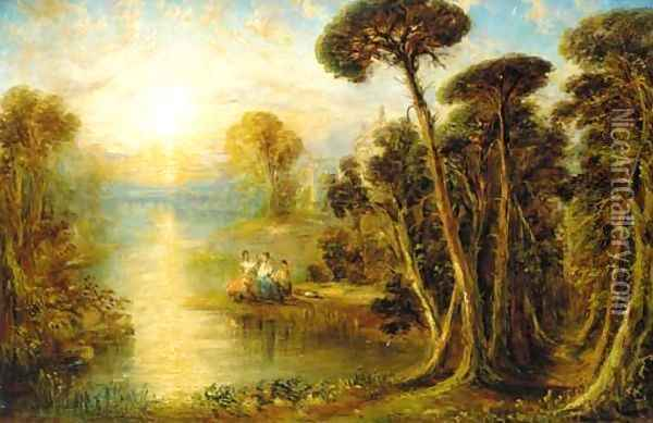 Ladies in a classical river landscape at sunset Oil Painting - Joseph Mallord William Turner
