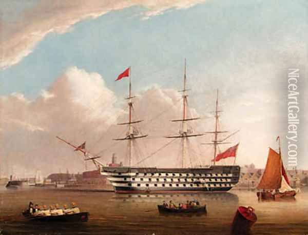 H.M.S. Victory at her permanent Mooring in Portsmouth Harbour Oil Painting - Robert Strickland Thomas