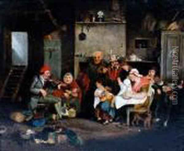 The Blind Fiddler Oil Painting - Sir David Wilkie
