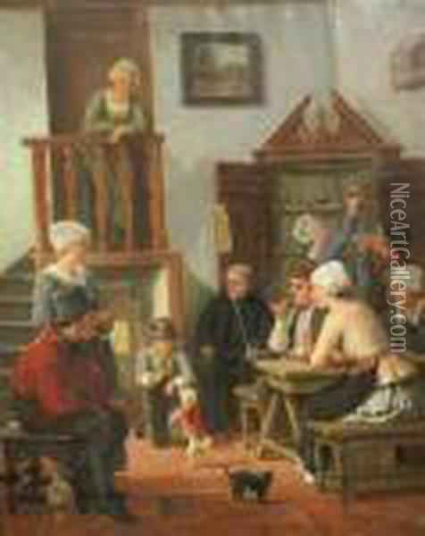 Tavern Interior With A Dancing Poodle Oil Painting - Sir David Wilkie