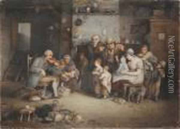 The Blind Fiddler, And Another By The Samehand Oil Painting - Sir David Wilkie