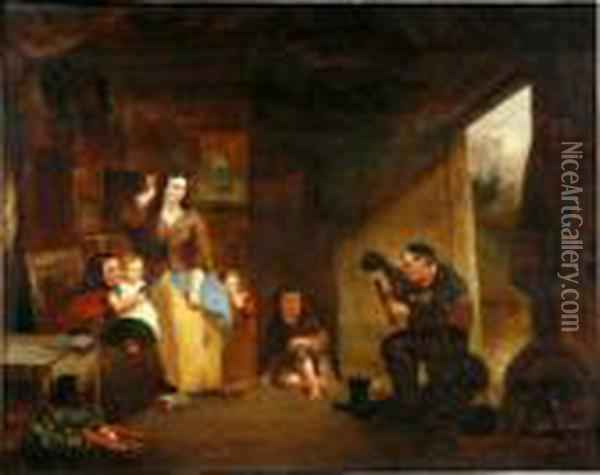 Interior With Family Listening To The Pipes Oil Painting - Sir David Wilkie