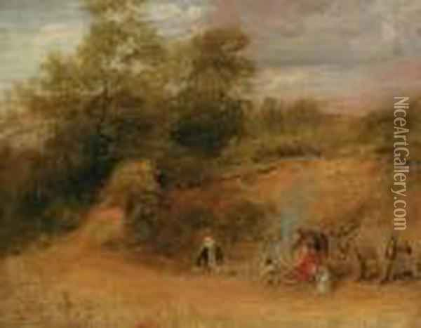 Travellers And Donkeys By A Camp Fire In A Wooded Landscape Oil Painting - Sir David Wilkie