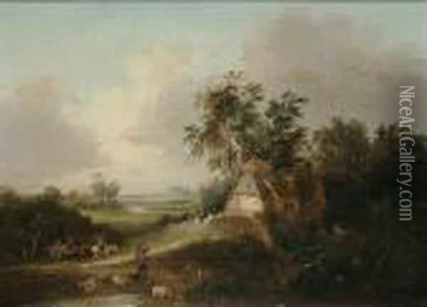 Figures On A Country Lane; And A Drover Passing A Cottage Oil Painting - Edward Charles Williams