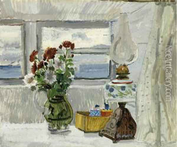 Flowers And Lamp In A Cornish Window Oil Painting - Christopher Wood