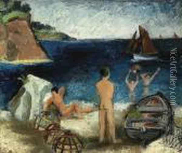 Bathers By The Sea, Treboul Oil Painting - Christopher Wood