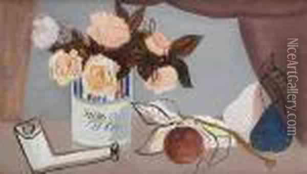 Still Life With Flowers, Fruit And A Claypipe Oil Painting - Christopher Wood