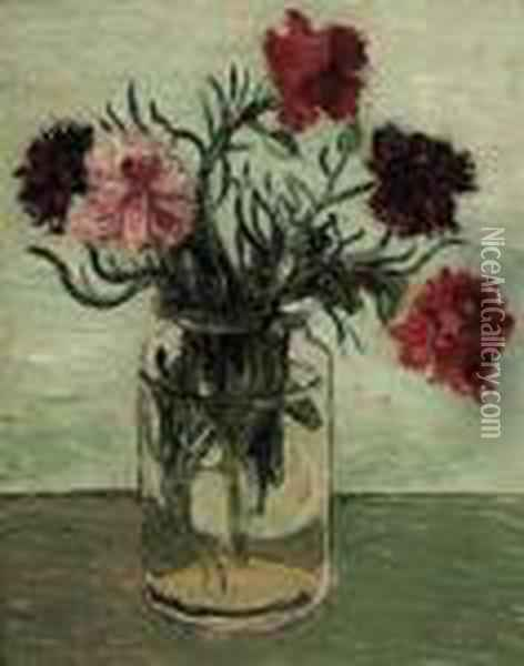 Carnations In A Glass Jar Oil Painting - Christopher Wood