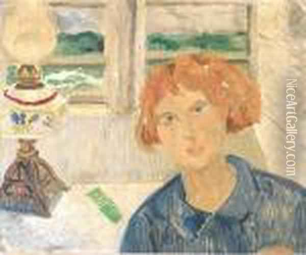 Girl And Lamp In A Cornish Window Oil Painting - Christopher Wood