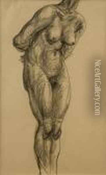 Standing Female Nude, Front Oil Painting - Christopher Wood