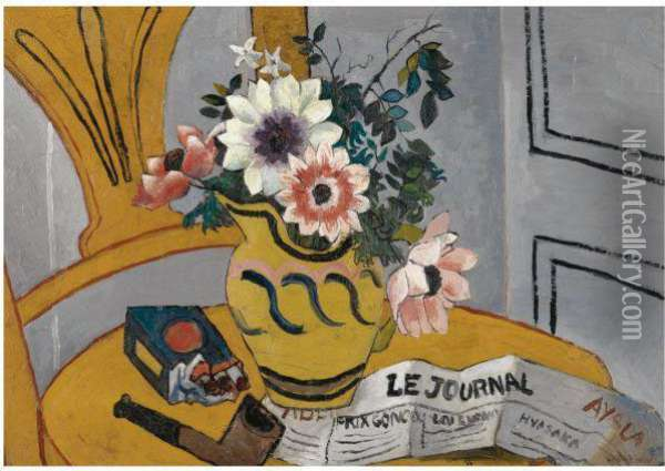 Flowers On A Chair With Pipe And Paper Oil Painting - Christopher Wood